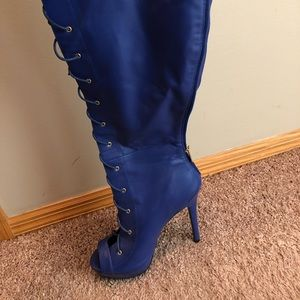 royal blue thigh high corset boot